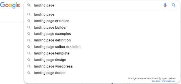 Google Suggest - Keyword-Recherche für die Landing-Page